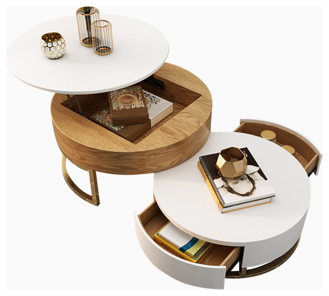 Round Coffee Table With Storage Lift-Top Wood Coffee Table With Rotatable  Drawer - Contemporary - Coffee Tables - By GOEYA LLC