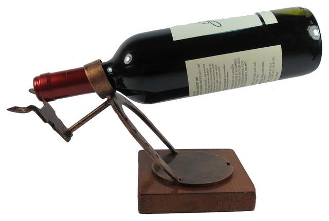 Wine Bottle Holder, Handcrafted Recycled Metal Art, Bull