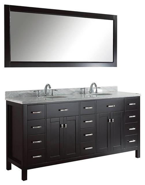 "Caroline Parkway 72"" Double Bathroom Vanity Set Espresso, Marble Top."