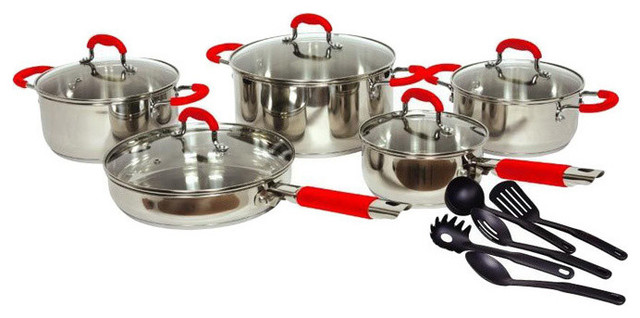 "Gourmet Chef 15-Piece ""classic 2"" Stainless Steel Cookware Set."