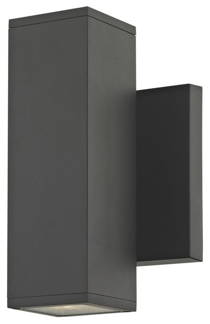 Led Square Cylinder Outdoor Wall Light Up/down 3000k, Matte Black.