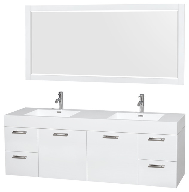 """Amare 72"""" Glossy White Vanity, Acrylic Resin Top, Integrated Sinks, 70"""" Mirror."""