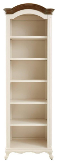 Ivory 6-Shelf Bookcase Open Bookcase With Ash Grey Top.