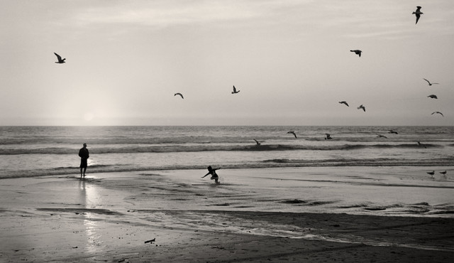 Sunset At San Clemente Beach California Fine Art Black White Photography