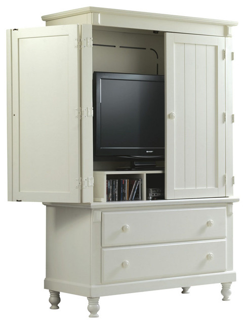 Homelegance Pottery 44 Inch TV Armoire In White Traditional Media Cabinets