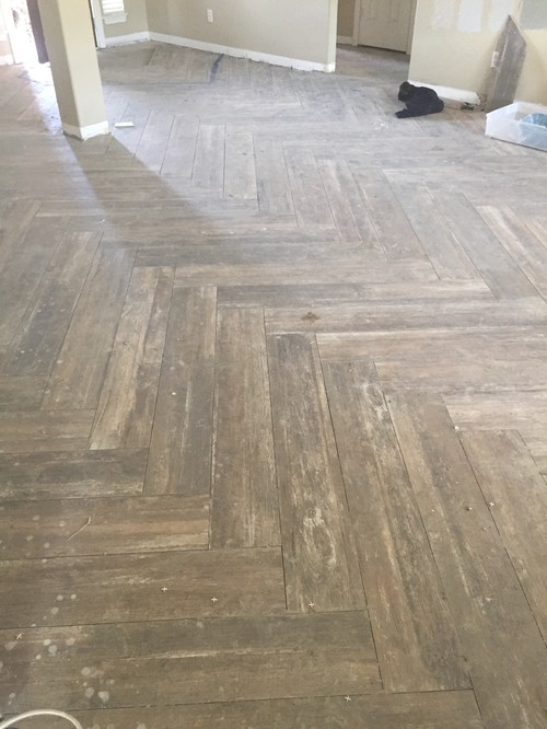 8 X 48 Wood Look Tile On Herringbone