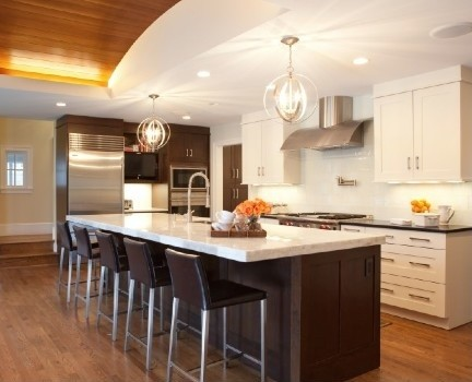 Kitchen dark cabinets white island - White kitchen with dark island ...