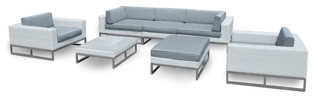 Outdoor Patio Furniture 7 Piece Weather Wicker Sofa Sectional Set