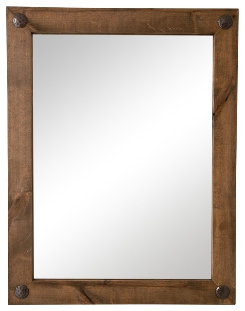 Farmhouse Bathroom Vanity Mirror With Decorative Nails 24 X31 Rustic Bathroom Mirrors By Drakestone Designs Houzz