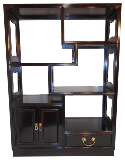 Asian Rosewood Step Curio Cabinet.
