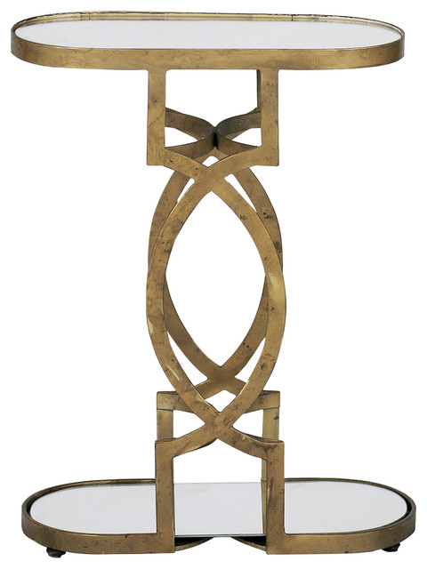 Amazing Gabby Natasha Brass Mirrored Accent Table Transitional Side Tables And End
