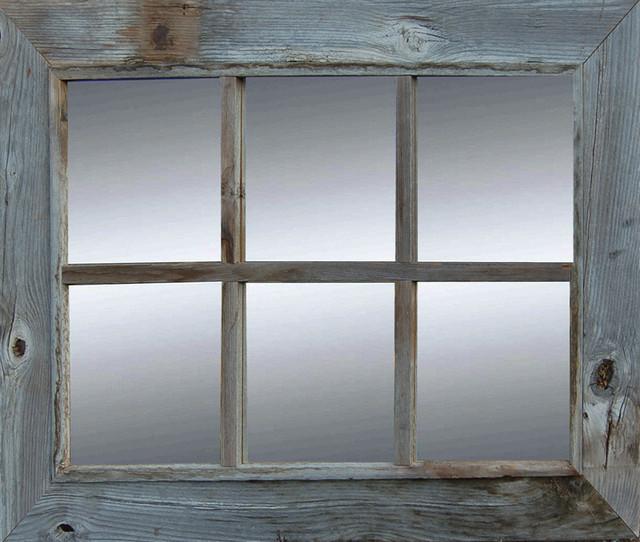 Rustic 6 Pane Reclaimed Barn Wood, 6 Pane Window Frame Mirror