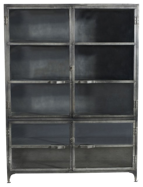 Black Iron Cabinet With Gl Doors Tall