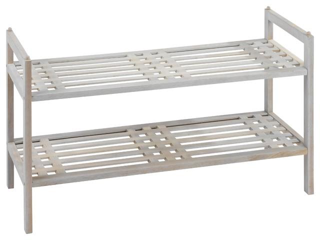 Norway Natural White 2-Shelf Shoe Rack