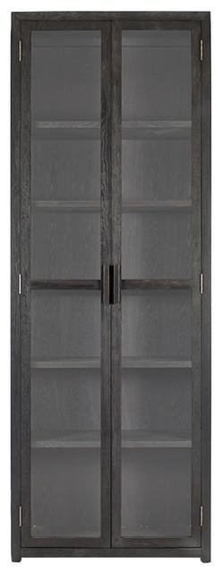 Misha Industrial Loft Rustic Tall Glass Doors And Wood Display Storage  Cabinet Traditional Storage