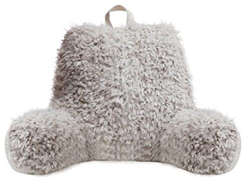 Faux Fur Reading Lounge Pillow, Silver White Fox