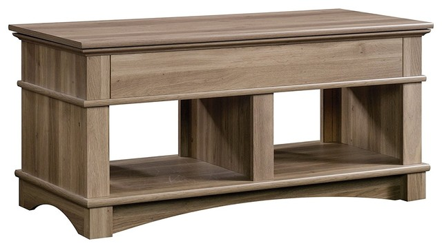 Traditional Lift Up Coffee Table Solid Oak Wood With Lower Open Shelves