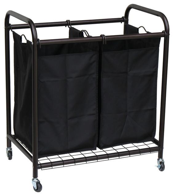 Oceanstar 2-Bag Rolling Laundry Sorter, Bronze.