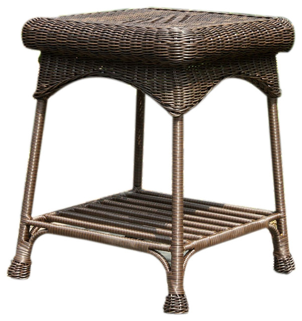 Jeco Inc Outdoor Wicker Patio Furniture End Table