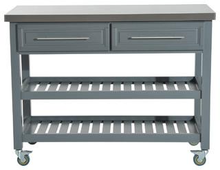 198 & HomCom Kitchen Island Rustic Rolling Storage Cart on Wheels Stainless Steel Top - 801-034 | Houzz