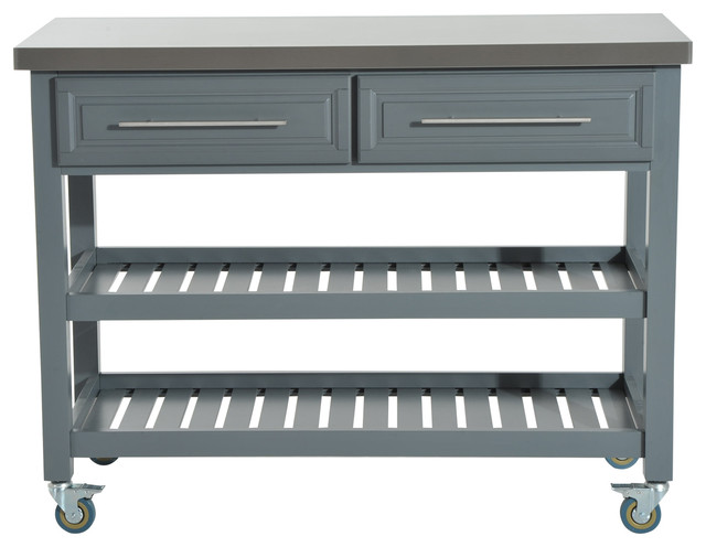Kitchen Island, Rustic Rolling Storage Cart on Wheels, Stainless Steel Top