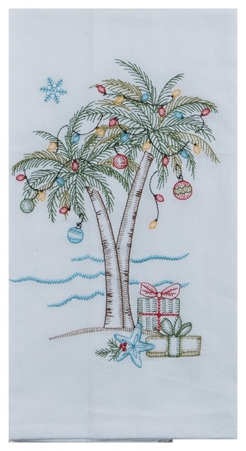 Holiday Palm Trees and Gifts Embroidered Flour Sack Kitchen Dish Towel
