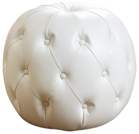 Abbyson Living Winslow Leather Tufted Ottoman In Ivory