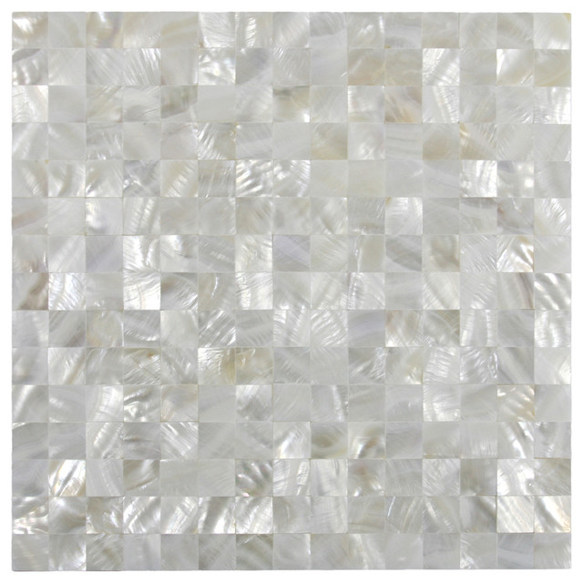 White Square Groutless Pearl Shell Tile, Sample