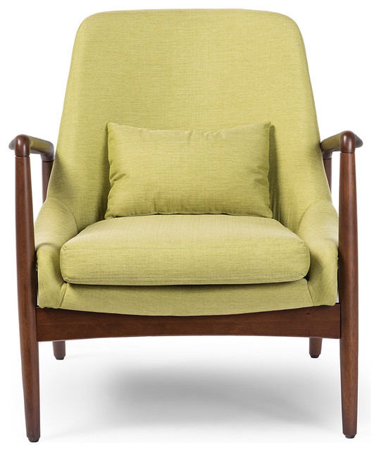 Carter Green Fabric Upholstered Leisure Accent Chair In Walnut Wood