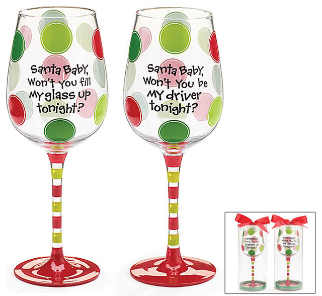 santa baby christmas wine glass decorative cup cute and fun for the holidays