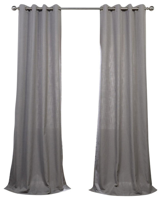 "Pewter Gray Grommet Heavy Fauxlinen Curtain Single Panel, 50""x108""."