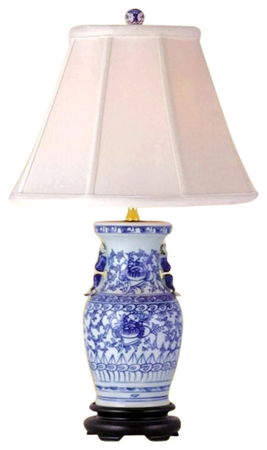 Blue and White Porcelain Vase Table Lamp Lotus Vine  : asian table lamps from www.houzz.com size 380 x 640 jpeg 36kB