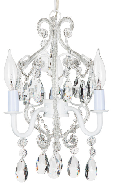 tiffany 3light mini beaded crystal chandelier white traditional chandeliers