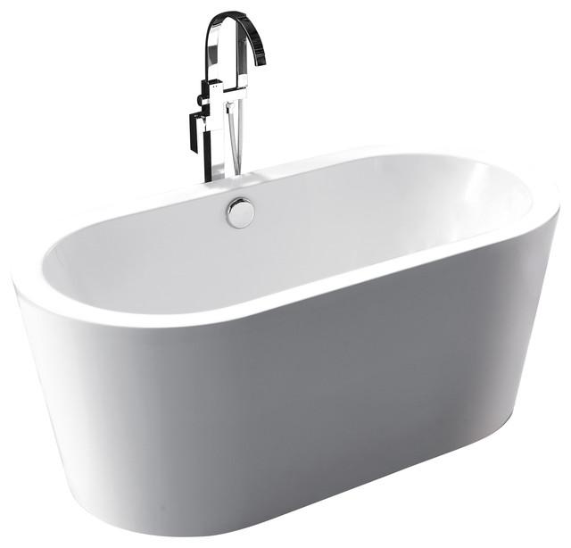 "Randers White Acrylic Oval Freestanding Bathtub 60"" L."