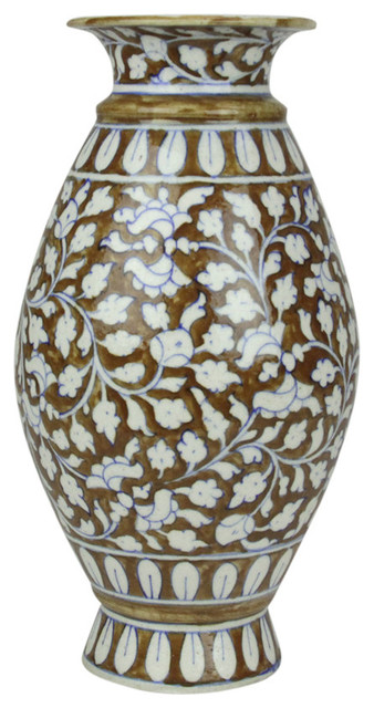 Tall Brown Jaipur Vase Traditional Vases By De Cor