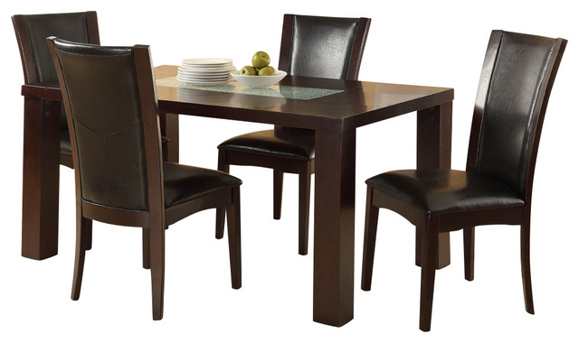 Homelegance Lee 5-Piece Dining Room Set With Crackle Glass Insert, Espresso