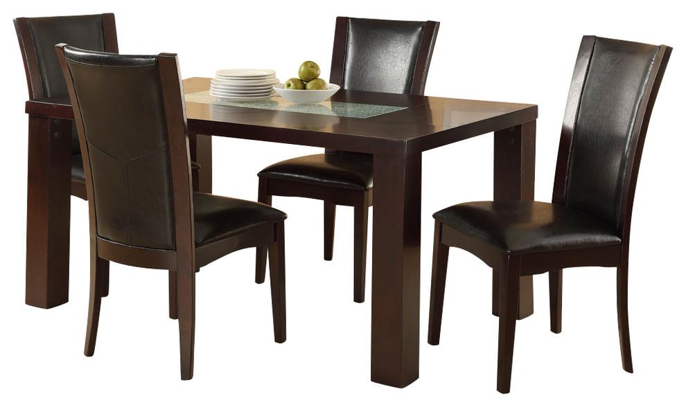 Homelegance Lee 5-Piece Dining Room Set With Crackle Glass Insert, Espresso