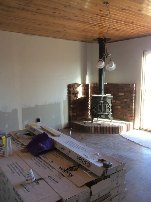 Wainscoting Height Issue With Wood Stove Hearth Barn Door Style