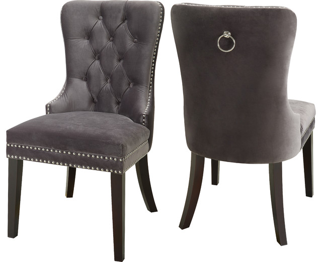 Martha Velvet Dining Chairs, Set Of 2, Gray.
