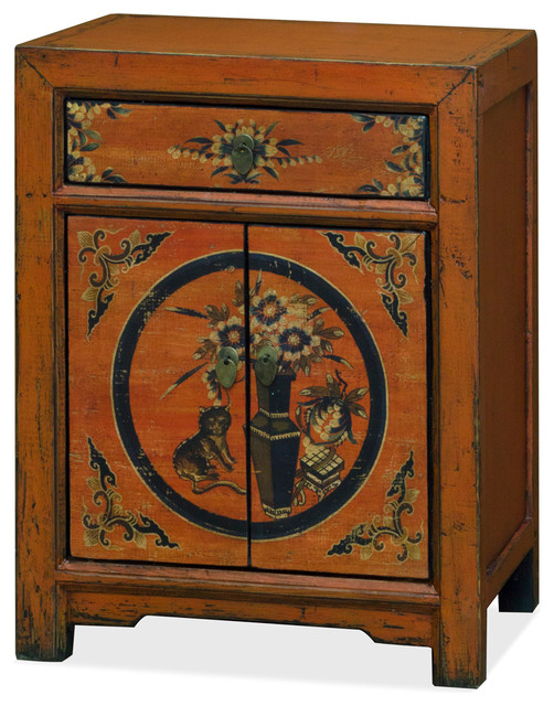 Tibetan Style Nightstand Cabinet With Still Life Motif  Asian Nightstands And Bedside