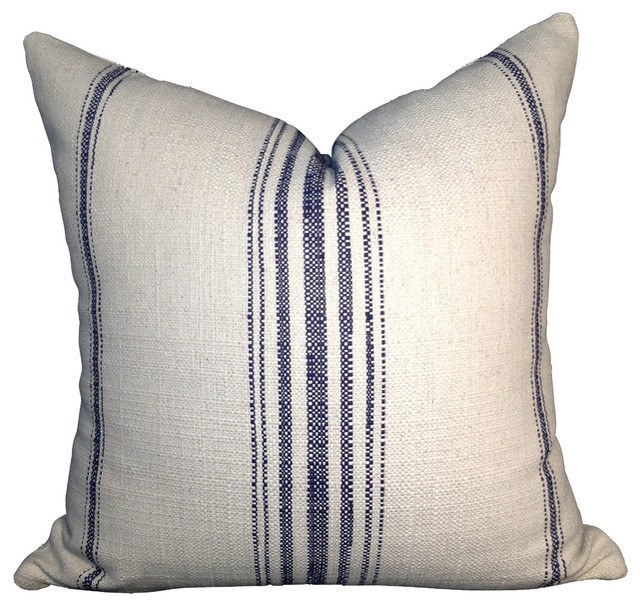 "Primitive Stripe Cotton Pillow Cover, Off-White And Navy Blue, 20""x20""."
