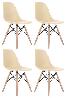 Cream DSW Midcentury Dining Shell Chairs With Beech Wood Eiffel Legs, Set of 4