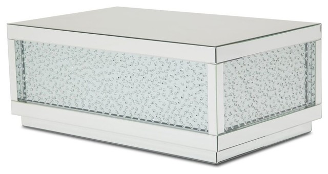 Aico Montreal Rect Silver Mirrored Tail Table With Crystals