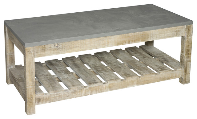 Solid Pine And Faux Concrete Cabin Coffee Table Industrial Coffee Tables By Bluebone