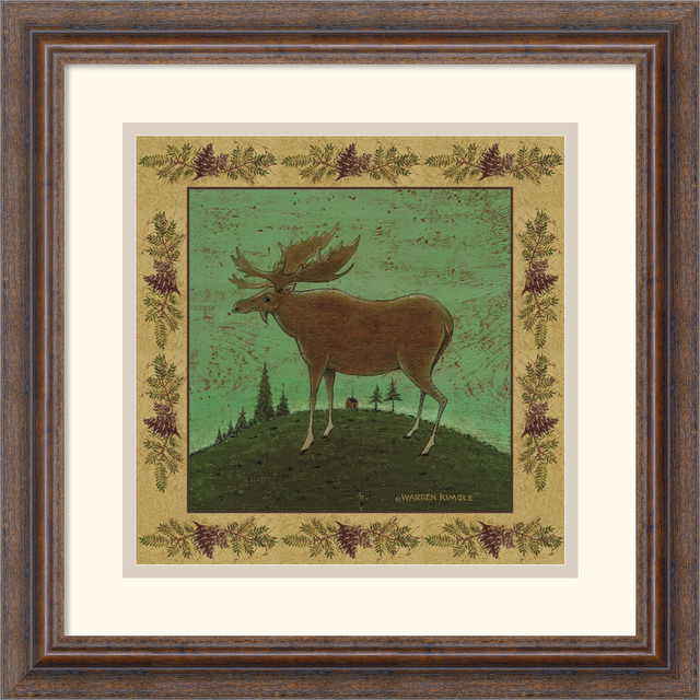 folk moose framed print by warren kimble - prints and posters - by ...