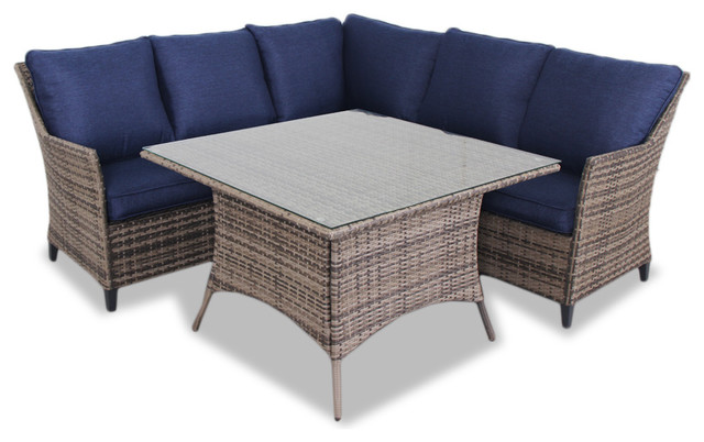 Palmetto 4-Piece Wicker Chat Cushion Dining Set.