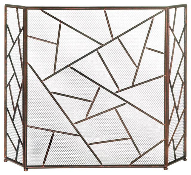 Modern Geometric Fireplace Screen.