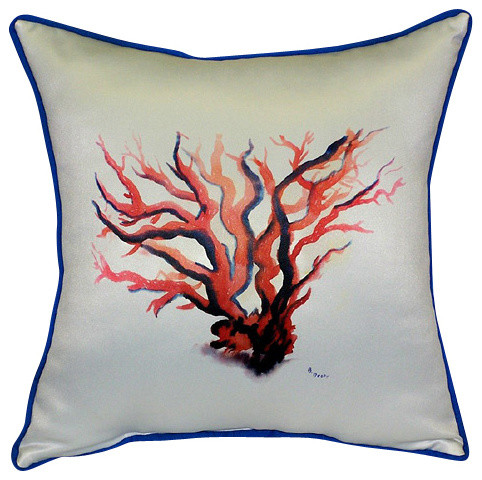 betsy drake red coral pillow