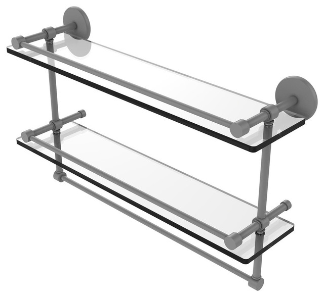 "22"" Gallery Double Glass Shelf With Towel Bar, Matte Gray"
