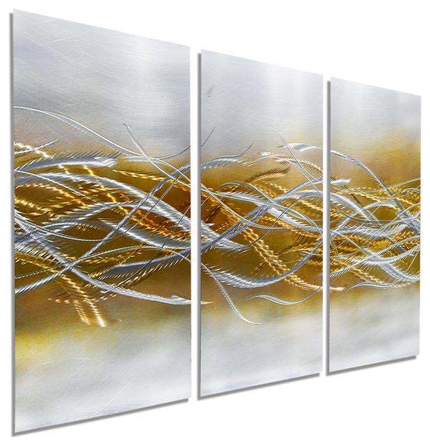 Modern Abstract Gold And Silver Handmade Metal Wall Art